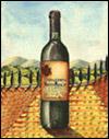 Disegno di una bottiglia di vino di Carmignano